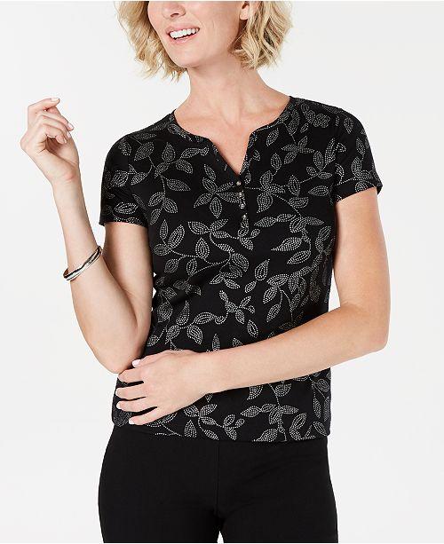 587b74ad ... Karen Scott Glitter-Print Henley T-Shirt, Created for Macy's ...