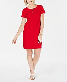 Cotton Lace-Up Split-Neck Dress, Created for Macy's