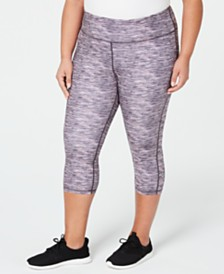 Ideology Plus Size Space-Dyed Cropped Leggings, Created for Macy's