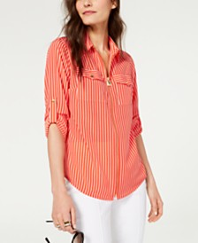 MICHAEL Michael Kors Striped Zip Utility Shirt, Regular & Petite Sizes