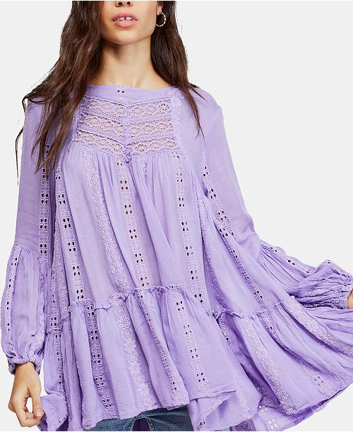 939cb2d25715 Free People Kiss Kiss Embroidered Lace Tunic & Reviews - Tops ...