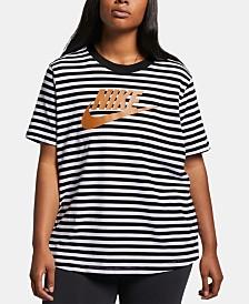 Nike Plus Size Cotton Logo Striped T-Shirt
