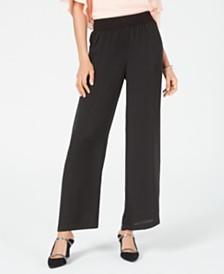 Alfani Petite Smocked-Waist Satin Pants, Created for Macy's