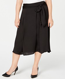 Alfani Plus Size Satin-Tie Midi Skirt, Created for Macy's