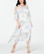 8be430c9e39 Robbie Bee Plus Size Cold-Shoulder Floral Maxi Dress