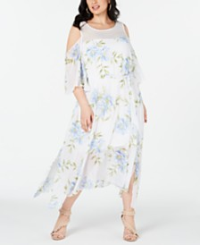 Robbie Bee Plus Size Cold-Shoulder Floral Maxi Dress