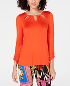 Thalia Sodi Embellished Neck Top, Created for Macy's