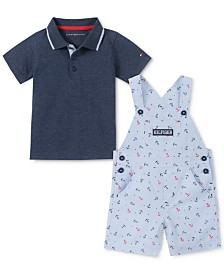 Tommy Hilfiger Baby Boys 2-Pc. Polo Shirt & Anchor Shortalls Set