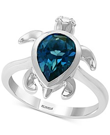 EFFY® London Blue Topaz (2-3/8 ct. t.w.) & Diamond Accent Turtle Ring in Sterling Silver