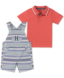 Tommy Hilfiger Baby Boys 2-Pc. Polo Shirt & Striped Shortalls Set