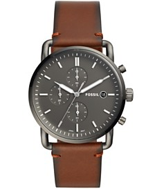 Fossil Mens Commuter gray case and brown leather strap