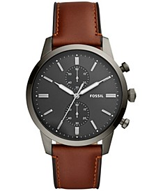 Men's Townsman Brown Leather Strap Watch 44mm