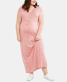 Motherhood Maternity Plus Size Striped Maxi Dress