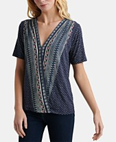 cd87ac813 Lucky Brand Printed Faux-Wrap Top