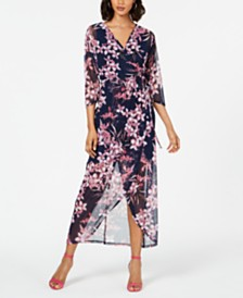 Connected Petite Floral-Print Mesh Maxi Dress