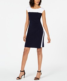Connected Petite Colorblocked Faux-Wrap Dress
