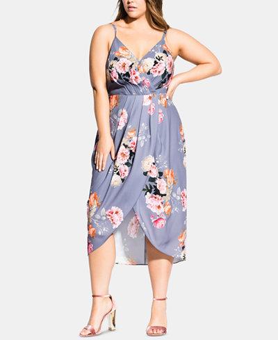 City Chic Trendy Plus Size Florence Floral Wrap Dress