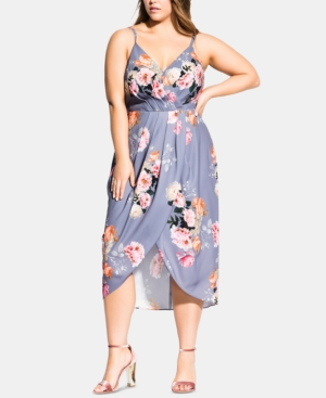 City Chic Dresses TRENDY PLUS SIZE FLORENCE FLORAL WRAP DRESS