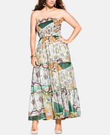 City Chic Trendy Plus Size Bilbao Printed Smocked Maxi Dress