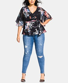 City Chic Trendy Plus Size Printed Faux-Wrap Top