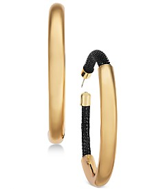 Thalia Sodi Gold-Tone Black Mesh Polished Hoop Earrings, Created for Macy's