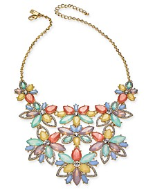 "I.N.C. Gold-Tone Crystal & Stone Flower Statement Necklace, 17"" + 3"" extender, Created for Macy's"