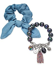 I.N.C. 2-Pc. Set Imitation Pearl Scrunchie Bracelet, Created for Macy's