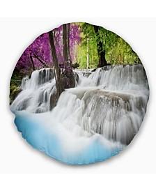"Designart 'Erawan Waterfall' Photography Throw Pillow - 16"" Round"
