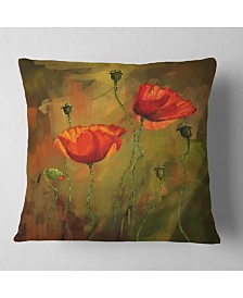 "Designart 'Watercolor Poppy Flowers' Floral Throw Pillow - 26"" x 26"""
