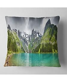 "Designart 'Mountain Lake Panorama' Photography Throw Pillow - 26"" x 26"""