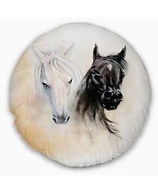 "Designart 'Black and White Horse Heads' Animal Throw Pillow - 16"" Round"