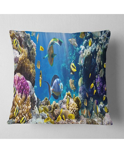 """Design Art Designart 'Fish In Coral Reef' Seascape Photography Throw Pillow - 16"""" x 16"""""""
