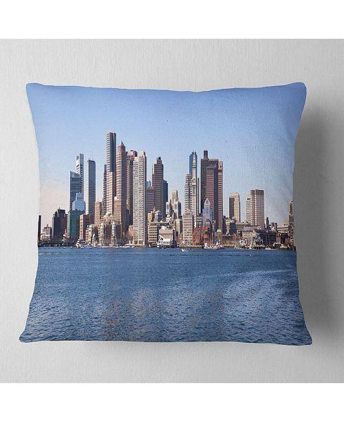 "Design Art Designart 'Boston Skyline Panorama' Cityscape Photo Throw Pillow - 16"" x 16"""