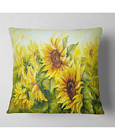 """Designart 'Bright Yellow Sunny Sunflowers' Floral Painting Throw Pillow - 16"""" x 16"""""""