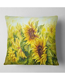 "Designart 'Bright Yellow Sunny Sunflowers' Floral Painting Throw Pillow - 16"" x 16"""