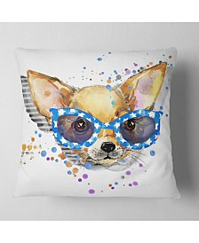 """Designart 'Cute Puppy With Blue Glasses' Animal Throw Pillow - 16"""" x 16"""""""