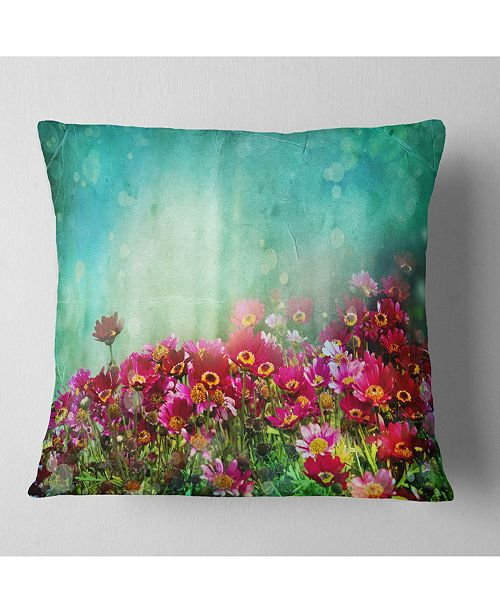 """Design Art Designart 'Little Red and Pink Flowers On Blue' Floral Throw Pillow - 16"""" x 16"""""""
