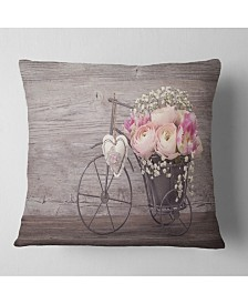 "Designart 'Ranunculus Flowers In Bicycle Vase' Floral Throw Pillow - 16"" x 16"""
