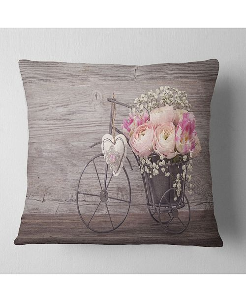 "Design Art Designart 'Ranunculus Flowers In Bicycle Vase' Floral Throw Pillow - 16"" x 16"""