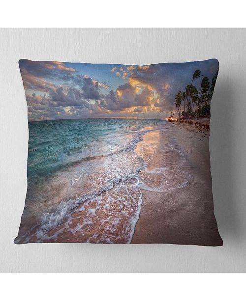 "Design Art Designart 'Palm Trees On Clear Sandy Beach' Seashore Throw Pillow - 16"" x 16"""