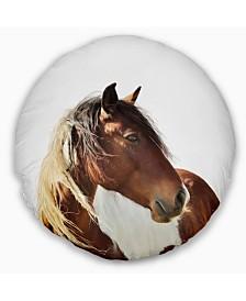 "Designart 'Large Brown Horse Illustration' Animal Throw Pillow - 20"" Round"