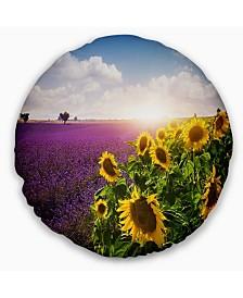 "Designart 'Lavender and Sunflower Fields' Floral Throw Pillow - 20"" Round"