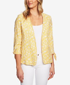 CeCe Printed 3/4-Sleeve Jacket
