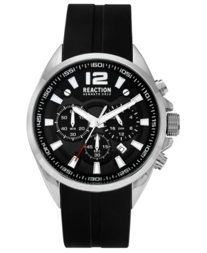Kenneth Cole Reaction Analog Men's Black Silicone Strap Watch, 44MM
