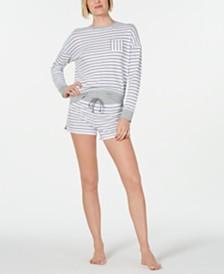 Alfani Crewneck Top & Striped Pajama Shorts Knit Sleep Separates, Created for Macy's