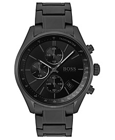 Men's Chronograph Grand Prix Black Stainless Steel Bracelet Watch 44mm