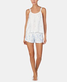 Lauren Ralph Lauren Flower-Print Satin Ruched Top and Pajama Shorts Set