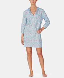 Lauren Ralph Lauren Printed 3/4-Sleeve Woven Nightgown
