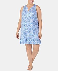 Plus-Size Printed Ruffle Flounce Nightgown