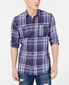 American Rag Men's Dual Pocket Plaid Shirt, Created for Macy's